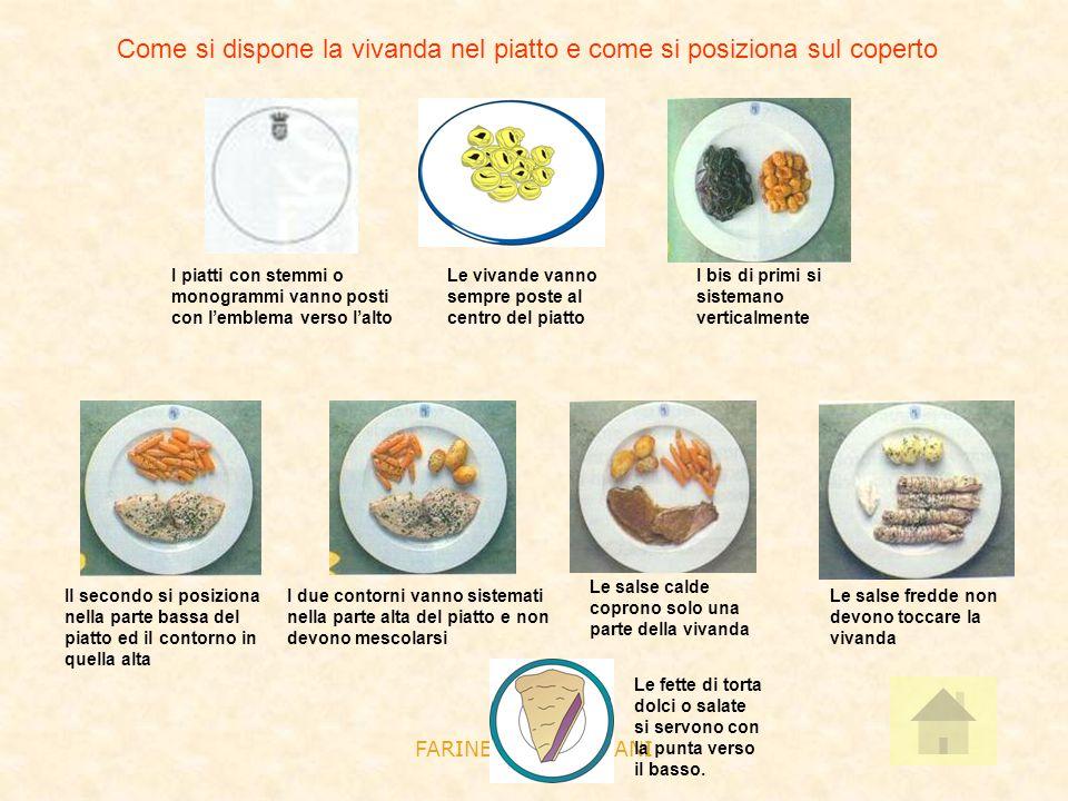 Come si dispone la vivanda nel piatto e come si posiziona sul coperto