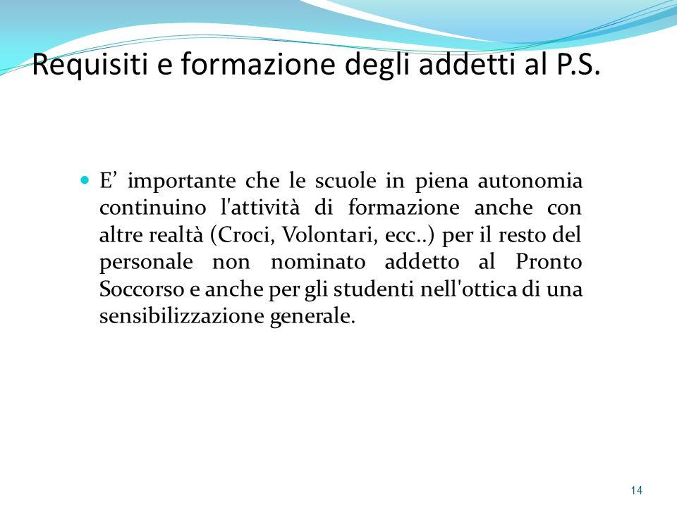 Requisiti e formazione degli addetti al P.S.