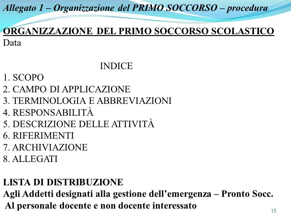 Allegato 1 – Organizzazione del PRIMO SOCCORSO – procedura