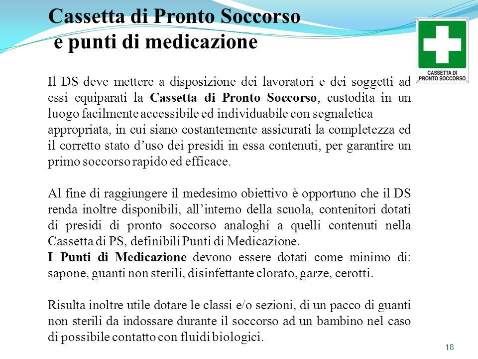 Cassetta di Pronto Soccorso e punti di medicazione