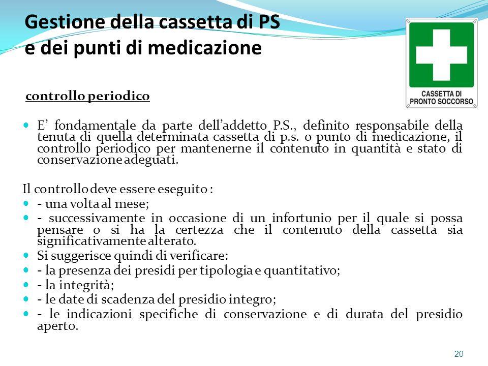 Gestione della cassetta di PS e dei punti di medicazione