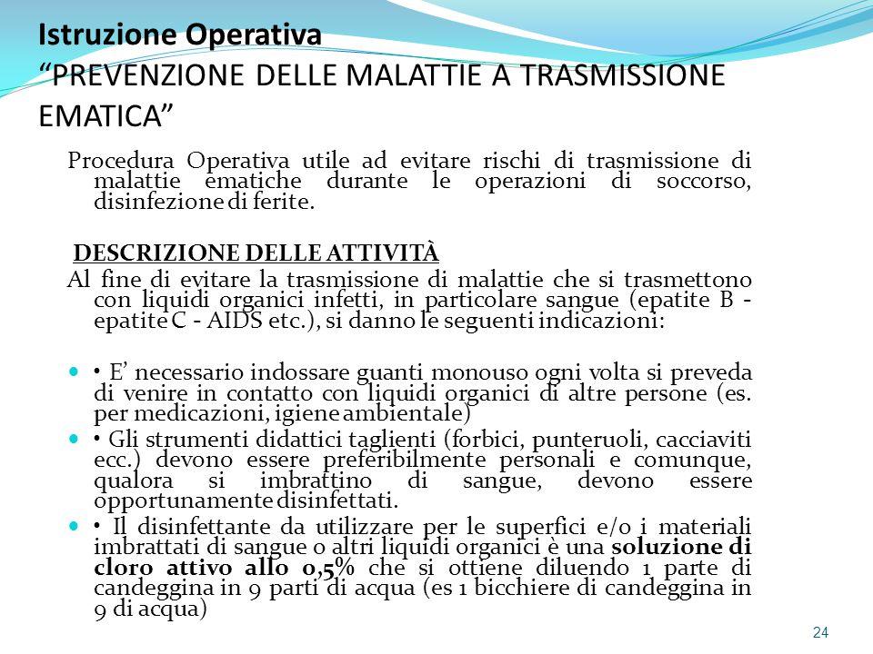 Istruzione Operativa PREVENZIONE DELLE MALATTIE A TRASMISSIONE EMATICA