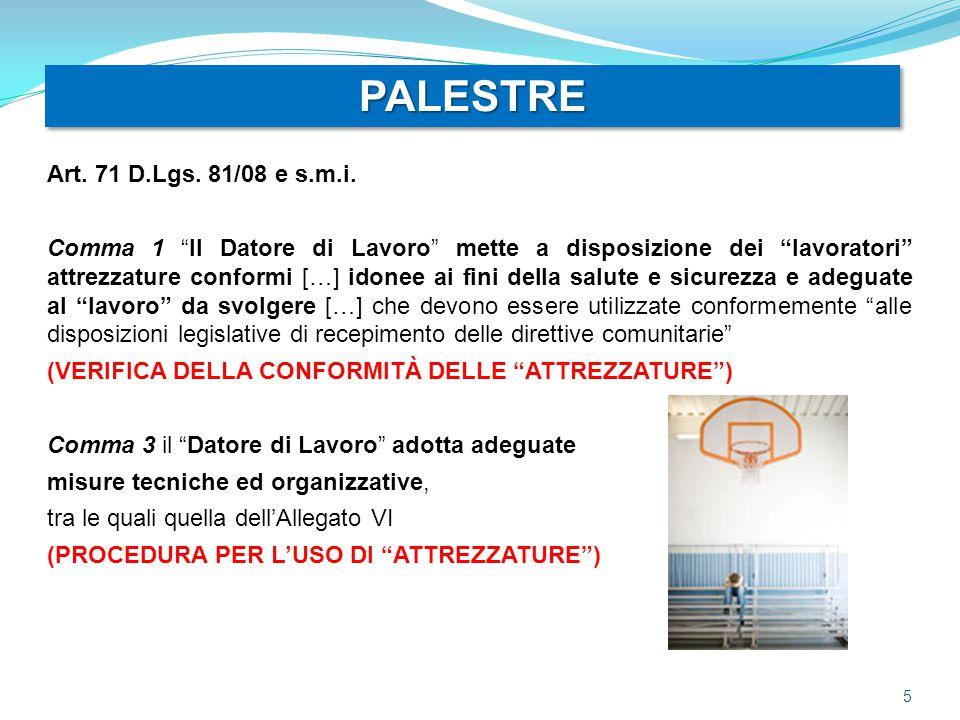 PALESTRE Art. 71 D.Lgs. 81/08 e s.m.i.
