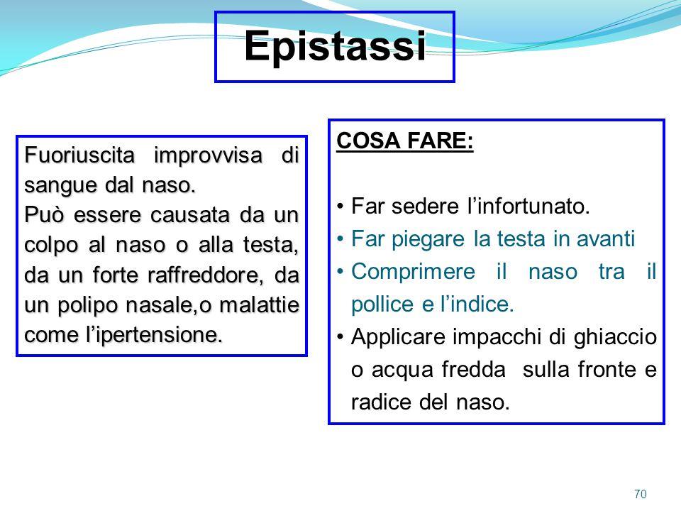 Epistassi COSA FARE: Fuoriuscita improvvisa di sangue dal naso.