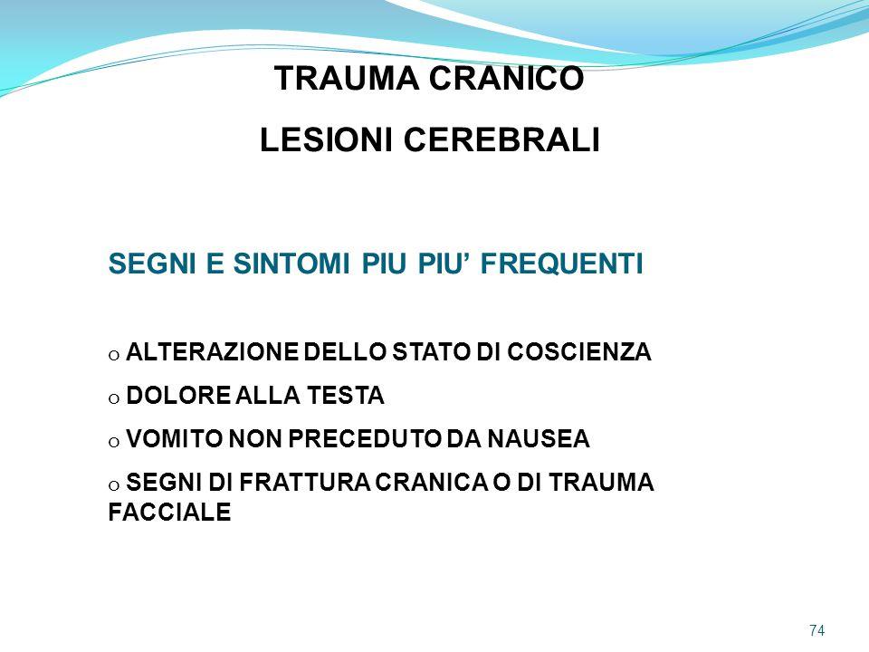 TRAUMA CRANICO LESIONI CEREBRALI