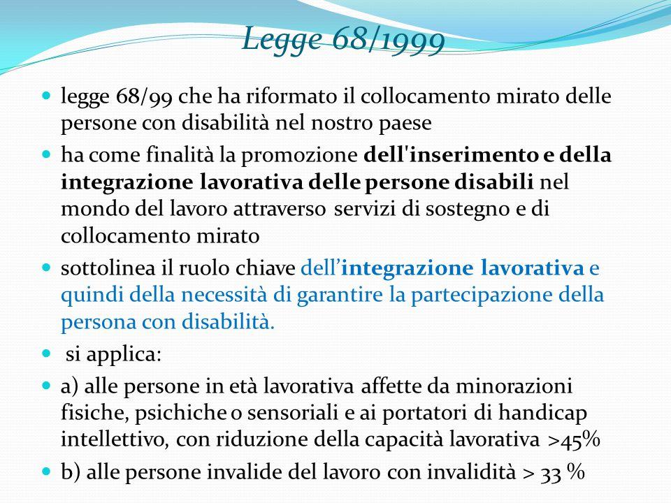 Legge 68/1999 legge 68/99 che ha riformato il collocamento mirato delle persone con disabilità nel nostro paese.