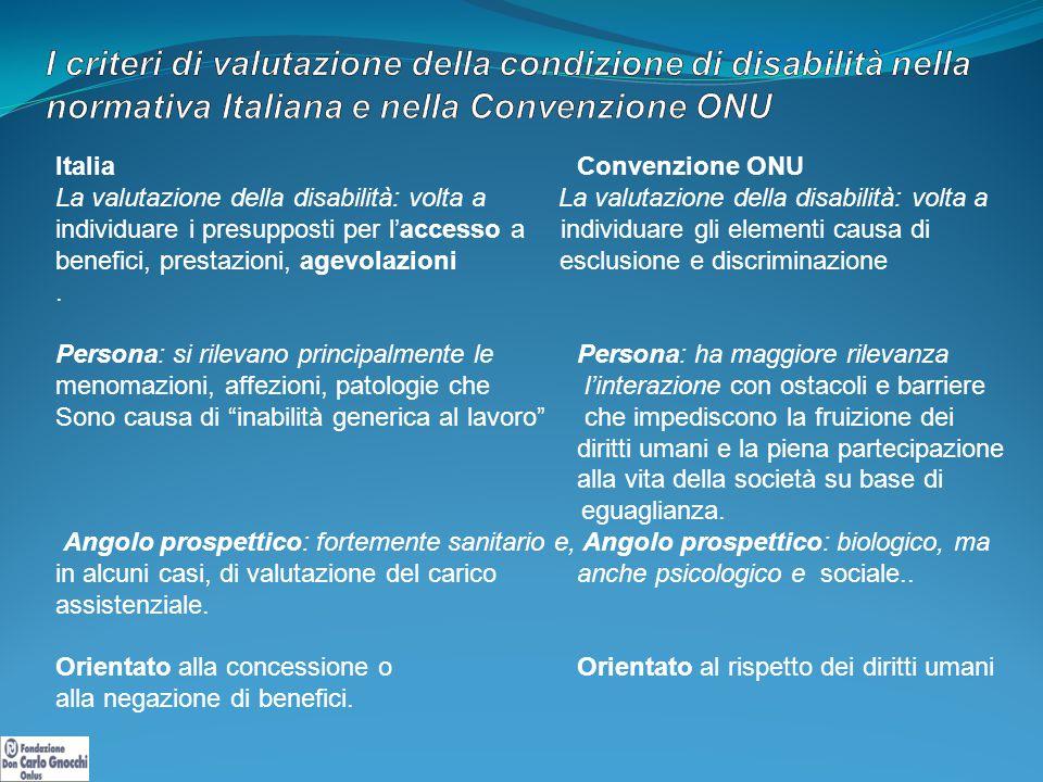I criteri di valutazione della condizione di disabilità nella normativa Italiana e nella Convenzione ONU
