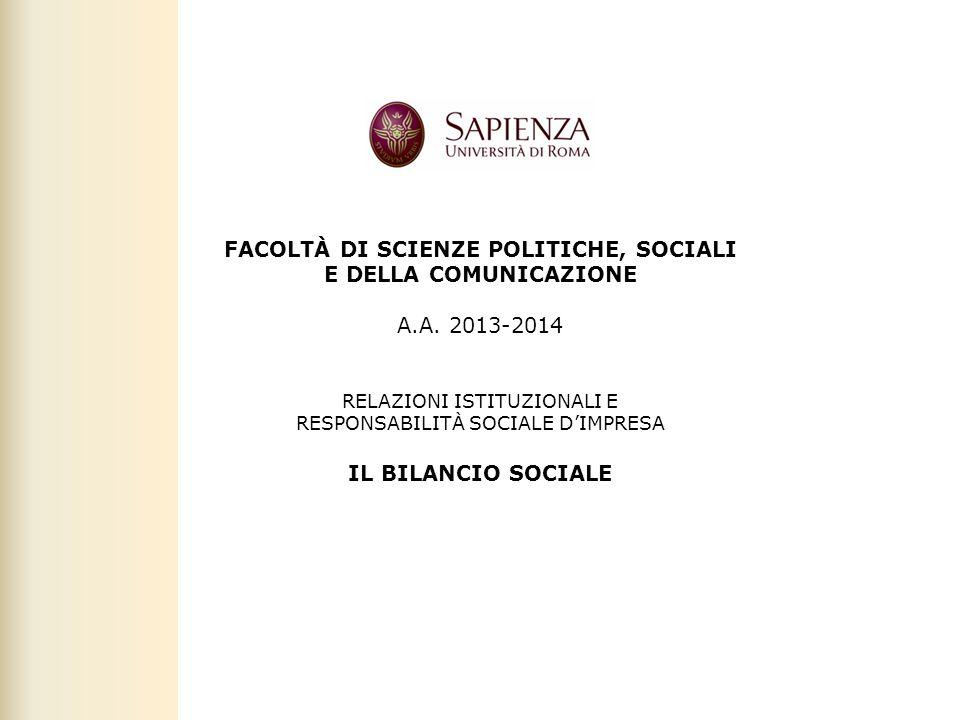 FACOLTÀ DI SCIENZE POLITICHE, SOCIALI E DELLA COMUNICAZIONE A. A