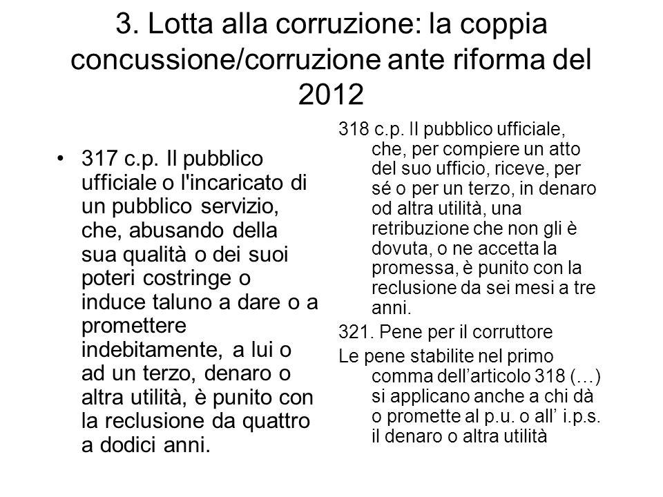 3. Lotta alla corruzione: la coppia concussione/corruzione ante riforma del 2012