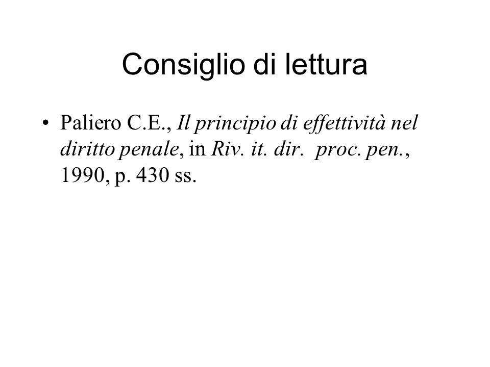 Consiglio di lettura Paliero C.E., Il principio di effettività nel diritto penale, in Riv.