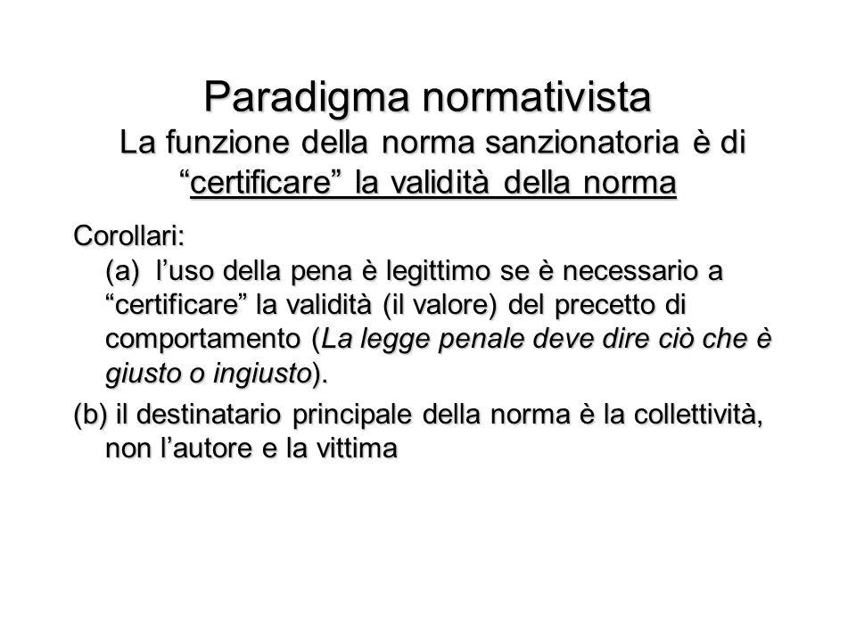 Paradigma normativista La funzione della norma sanzionatoria è di certificare la validità della norma