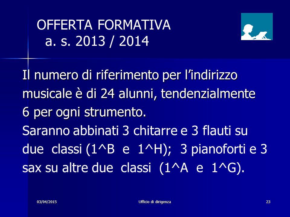 OFFERTA FORMATIVA a. s. 2013 / 2014 Il numero di riferimento per l'indirizzo. musicale è di 24 alunni, tendenzialmente.