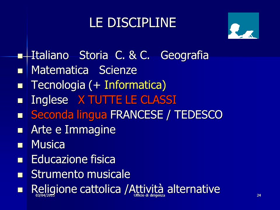 LE DISCIPLINE Italiano Storia C. & C. Geografia Matematica Scienze