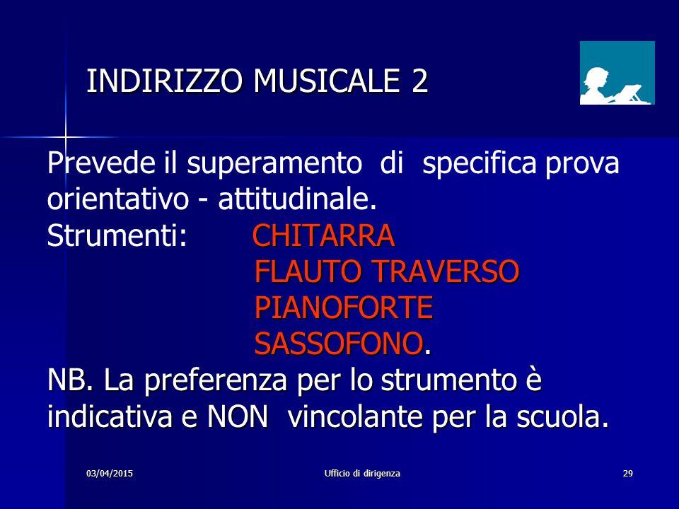 INDIRIZZO MUSICALE 2 Prevede il superamento di specifica prova