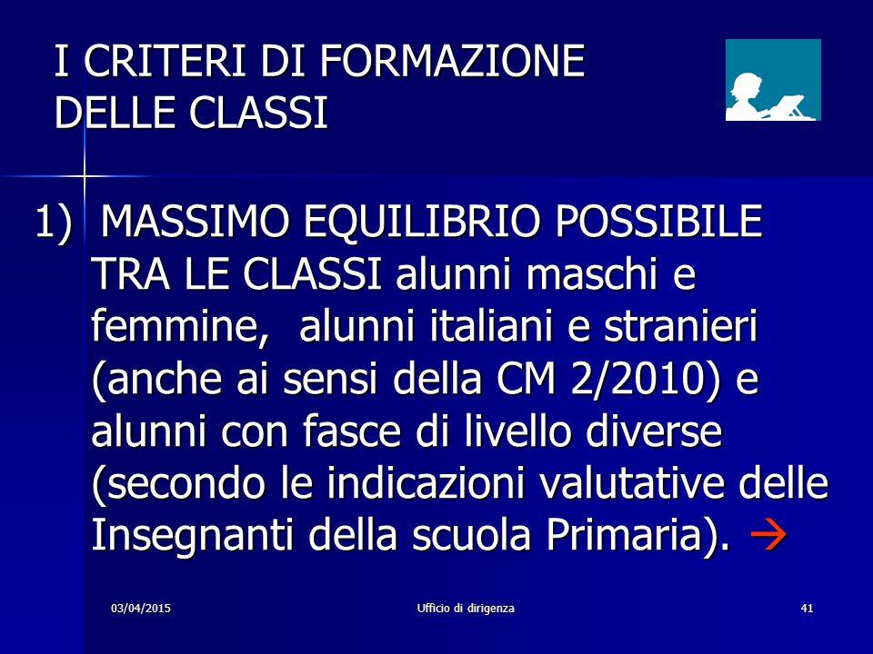 I CRITERI DI FORMAZIONE DELLE CLASSI