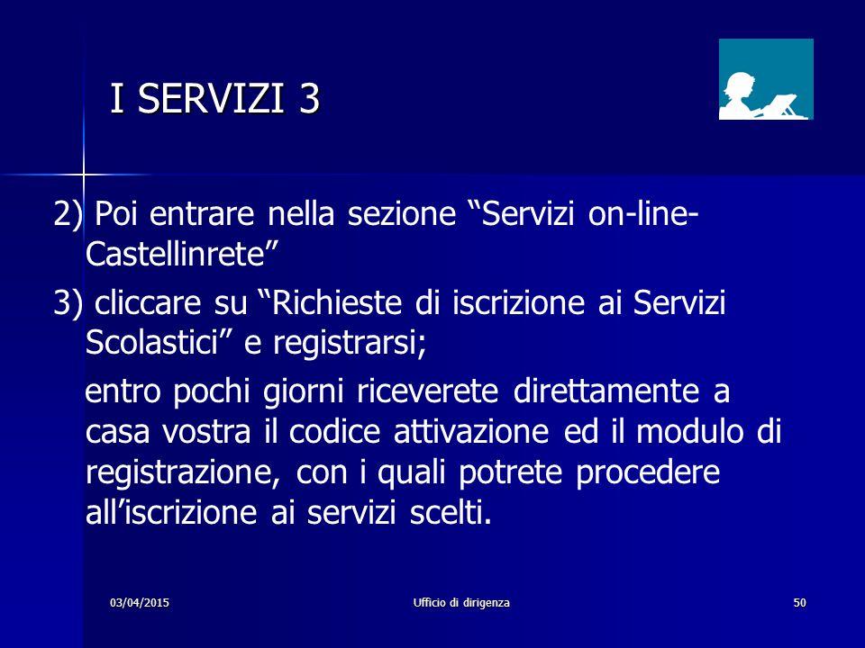 I SERVIZI 3 2) Poi entrare nella sezione Servizi on-line- Castellinrete