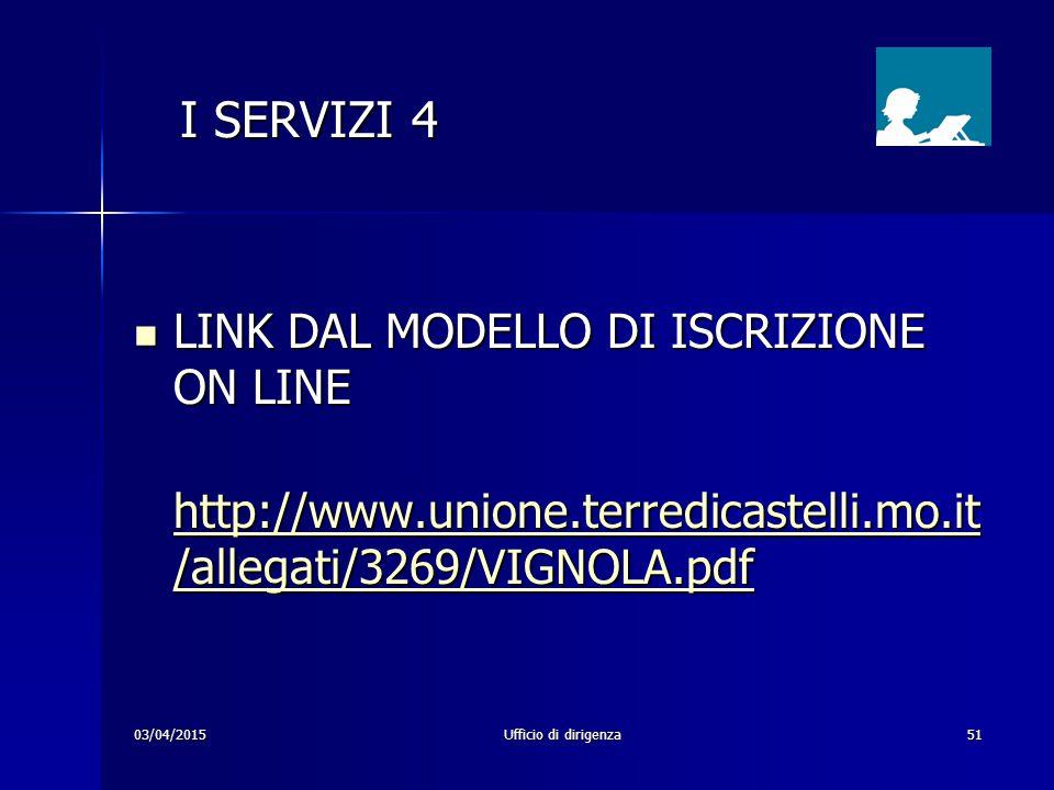 I SERVIZI 4 LINK DAL MODELLO DI ISCRIZIONE ON LINE