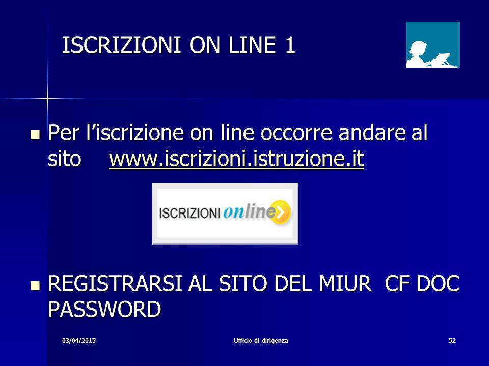 ISCRIZIONI ON LINE 1 Per l'iscrizione on line occorre andare al sito www.iscrizioni.istruzione.it.