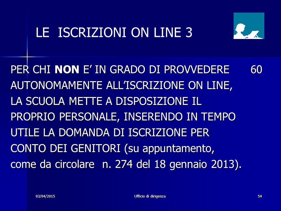 LE ISCRIZIONI ON LINE 3 PER CHI NON E' IN GRADO DI PROVVEDERE 60