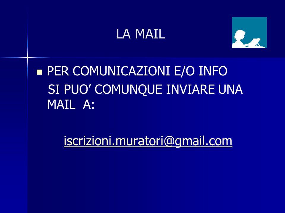 LA MAIL PER COMUNICAZIONI E/O INFO