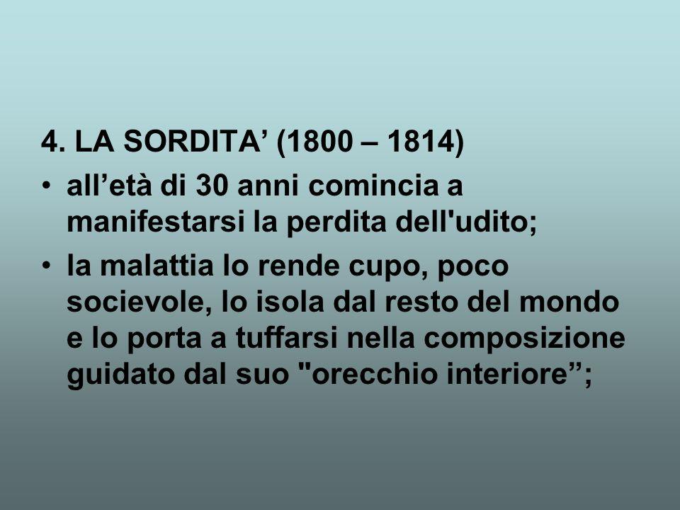 4. LA SORDITA' (1800 – 1814) all'età di 30 anni comincia a manifestarsi la perdita dell udito;