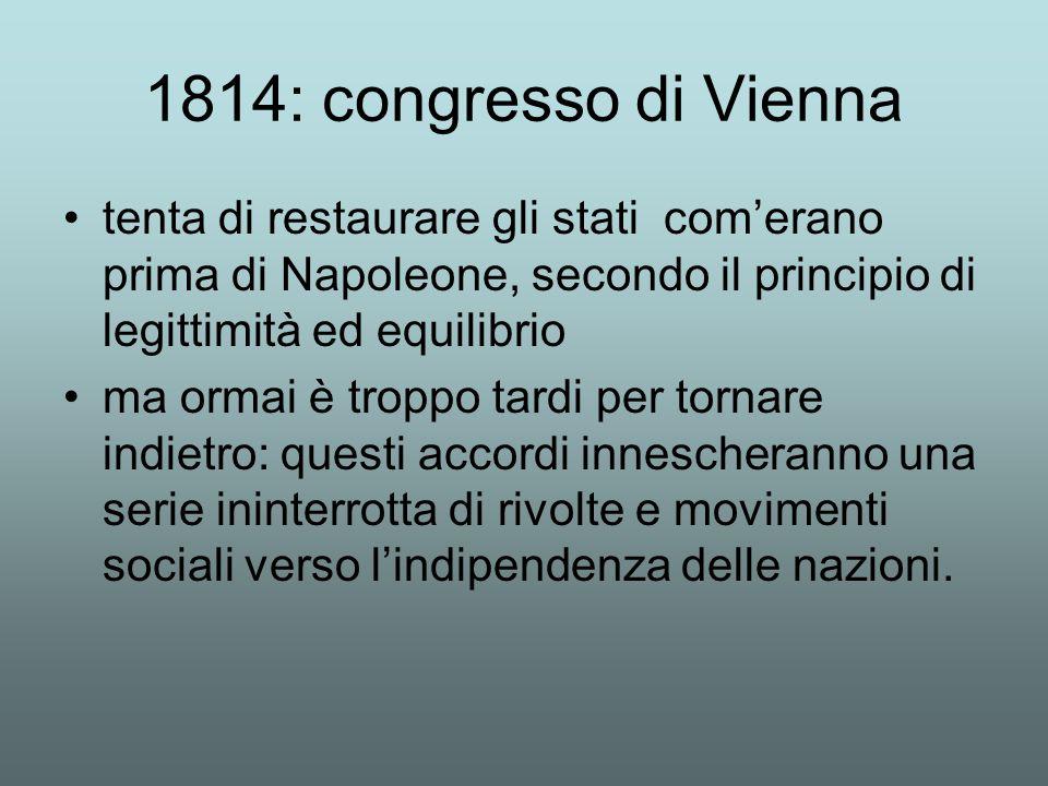 1814: congresso di Vienna tenta di restaurare gli stati com'erano prima di Napoleone, secondo il principio di legittimità ed equilibrio.