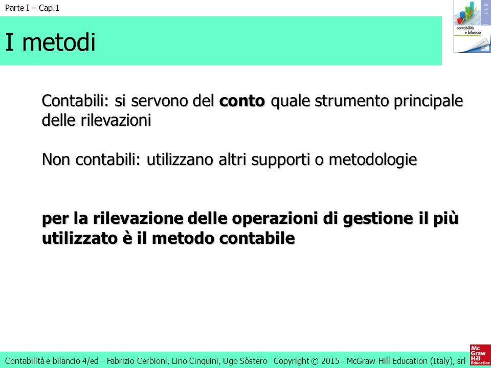 Parte I – Cap.1 I metodi. Contabili: si servono del conto quale strumento principale delle rilevazioni.