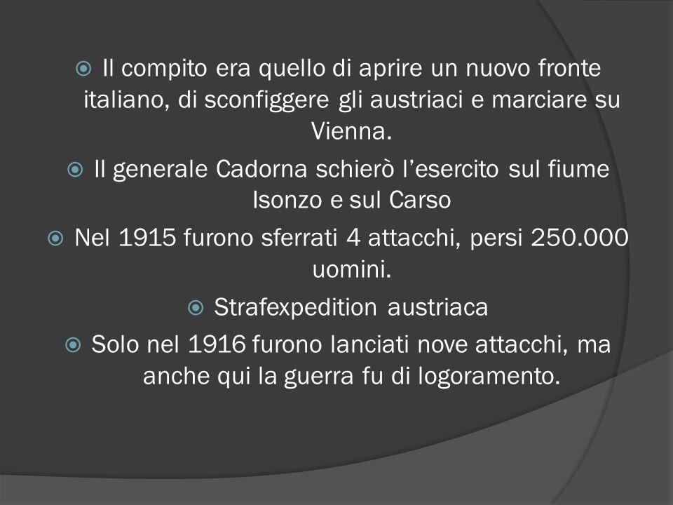 Il generale Cadorna schierò l'esercito sul fiume Isonzo e sul Carso