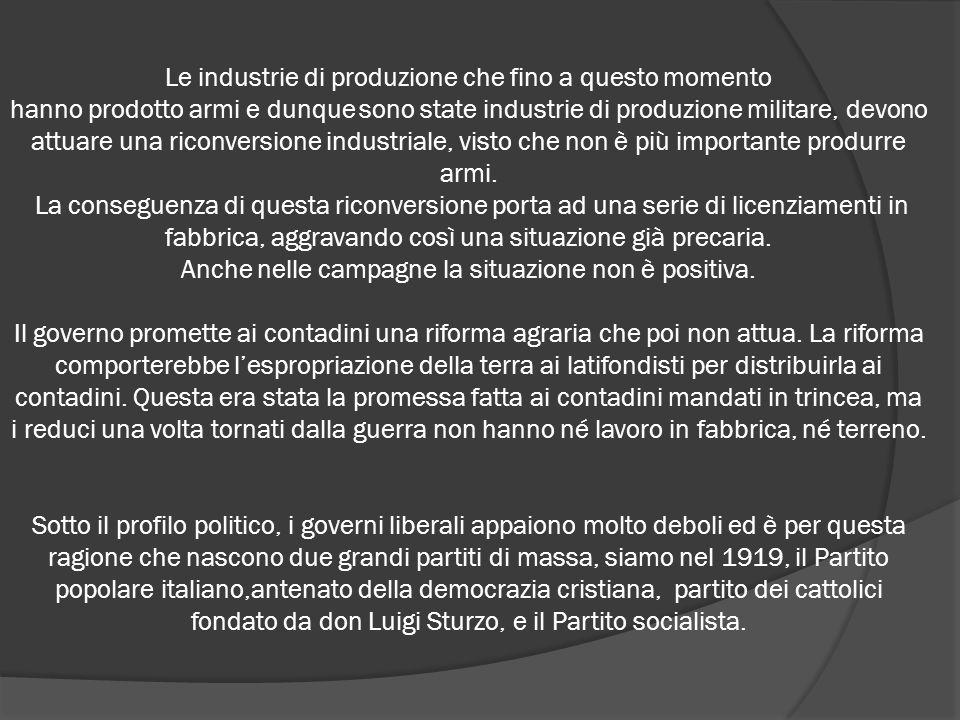 Le industrie di produzione che fino a questo momento
