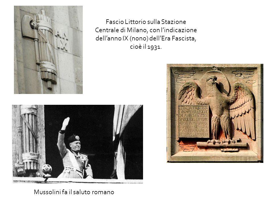 Fascio Littorio sulla Stazione Centrale di Milano, con l'indicazione dell'anno IX (nono) dell'Era Fascista, cioè il 1931.