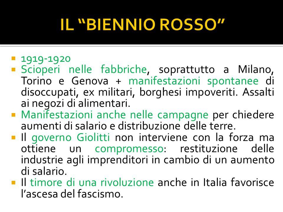 IL BIENNIO ROSSO 1919-1920.