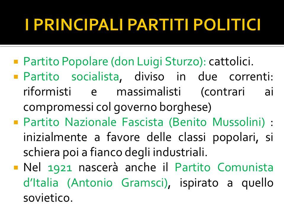 I PRINCIPALI PARTITI POLITICI