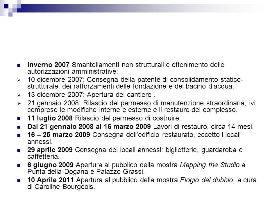 Inverno 2007 Smantellamenti non strutturali e ottenimento delle autorizzazioni amministrative: