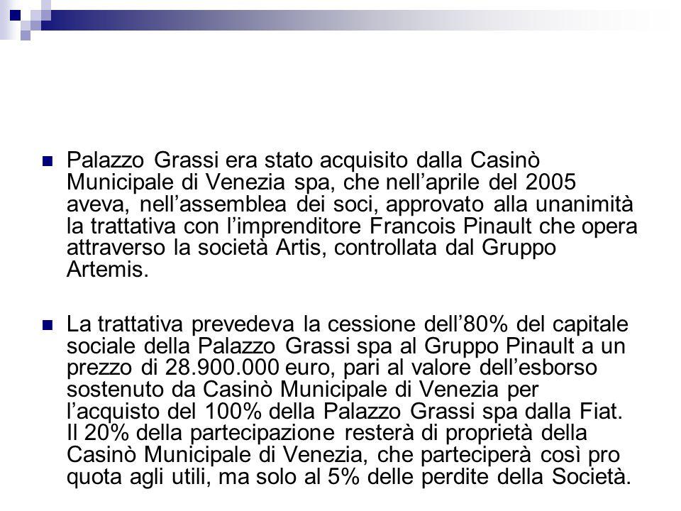 Palazzo Grassi era stato acquisito dalla Casinò Municipale di Venezia spa, che nell'aprile del 2005 aveva, nell'assemblea dei soci, approvato alla unanimità la trattativa con l'imprenditore Francois Pinault che opera attraverso la società Artis, controllata dal Gruppo Artemis.