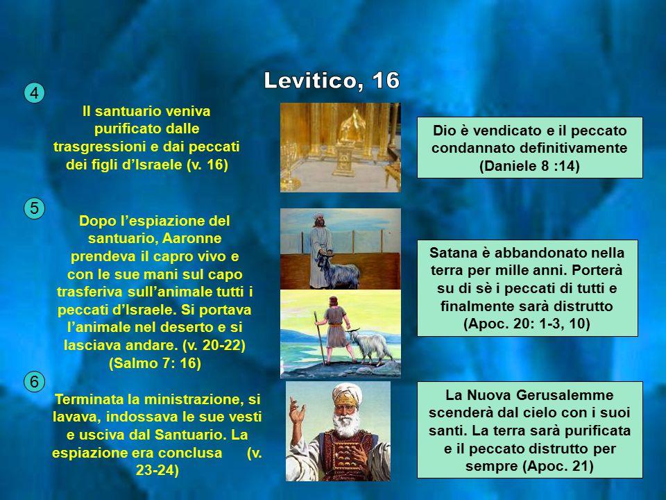 Levitico, 16 4. Il santuario veniva purificato dalle trasgressioni e dai peccati dei figli d'Israele (v. 16)