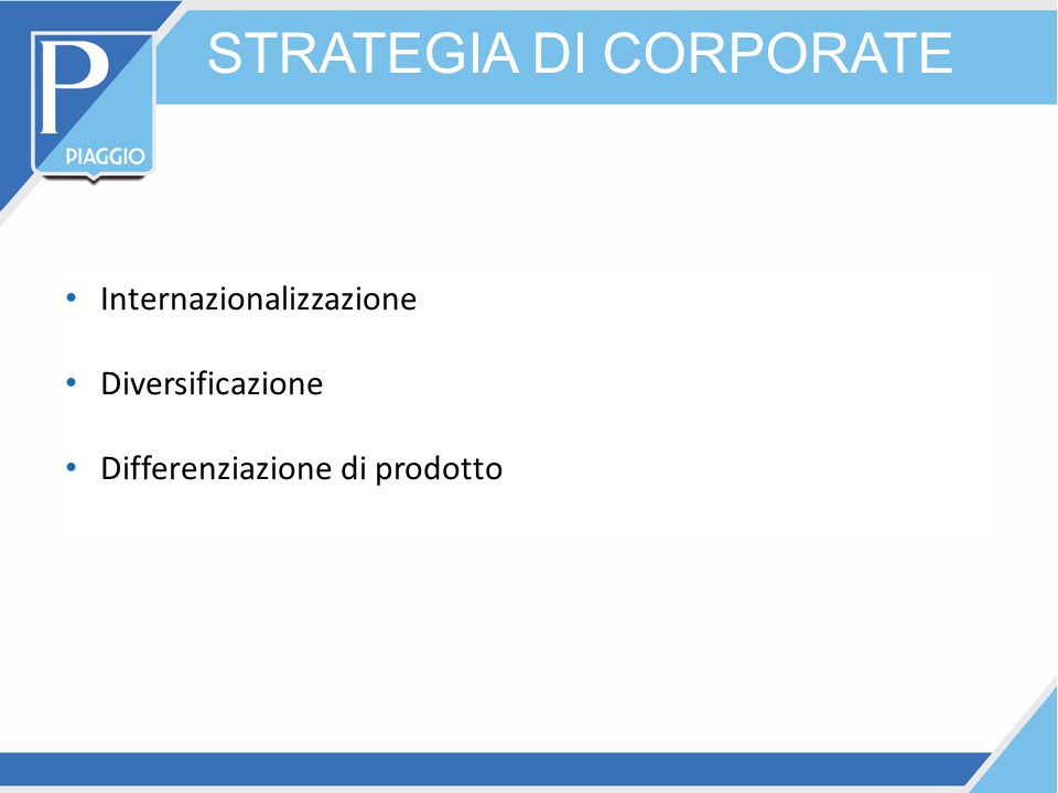 STRATEGIA DI CORPORATE