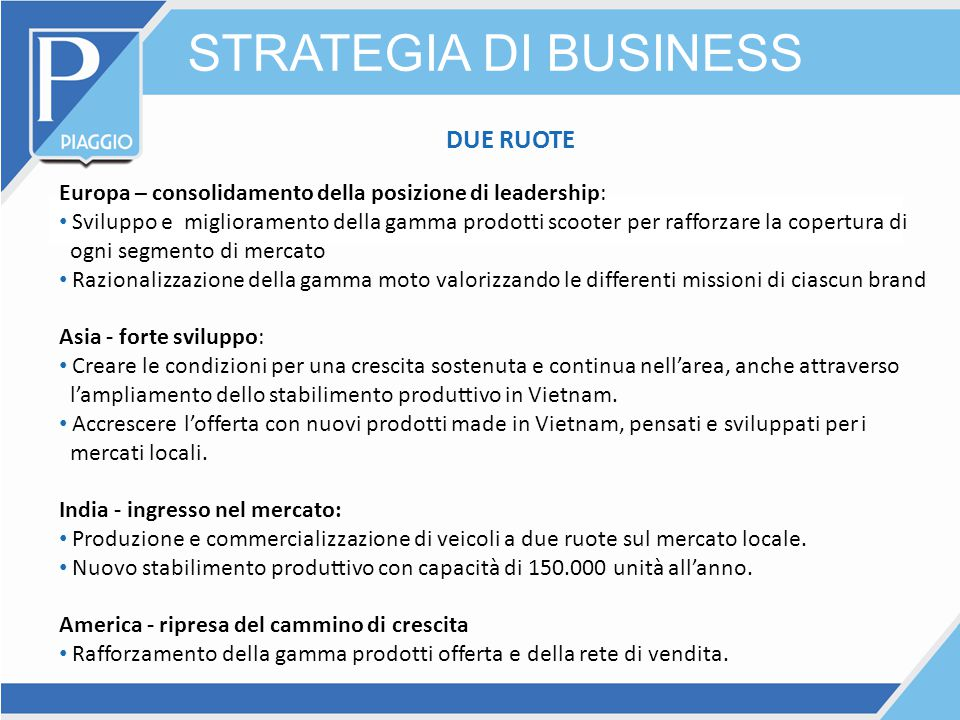 STRATEGIA DI BUSINESS DUE RUOTE