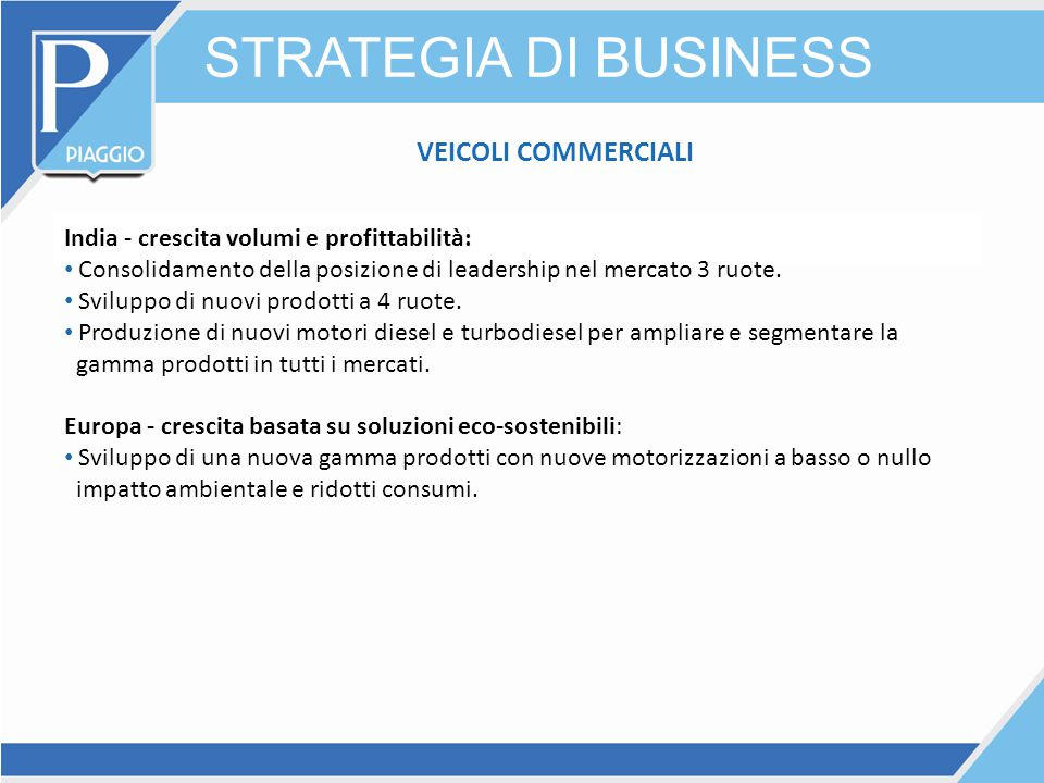 STRATEGIA DI BUSINESS VEICOLI COMMERCIALI