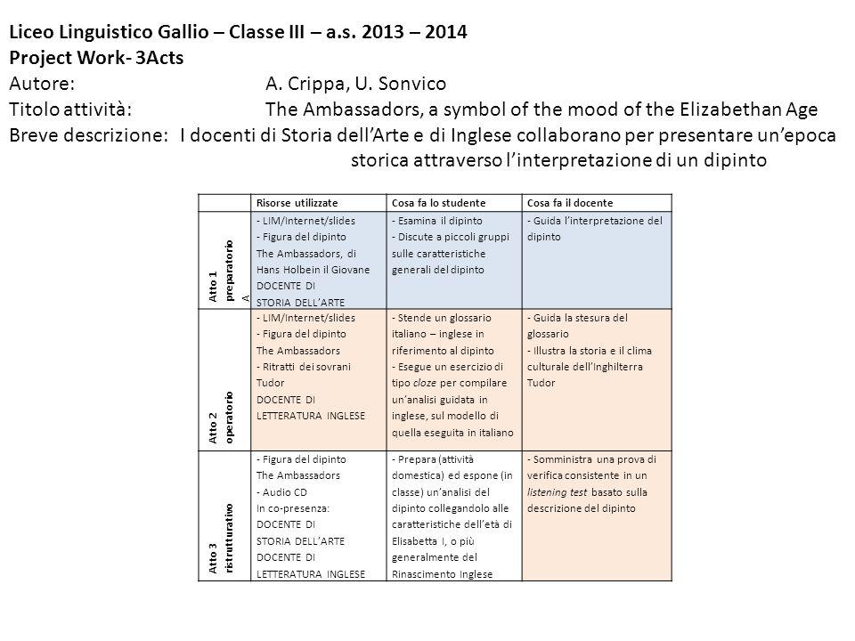 Liceo Linguistico Gallio – Classe III – a.s. 2013 – 2014