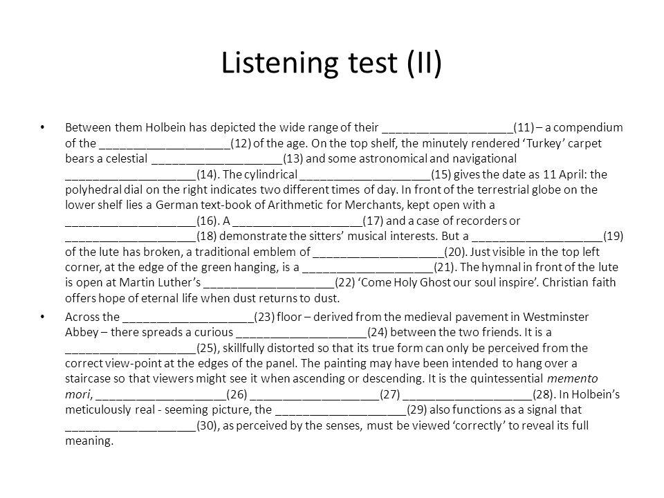 Listening test (II)