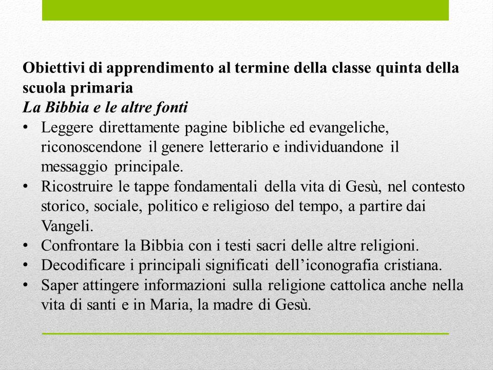 Obiettivi di apprendimento al termine della classe quinta della scuola primaria. La Bibbia e le altre fonti.