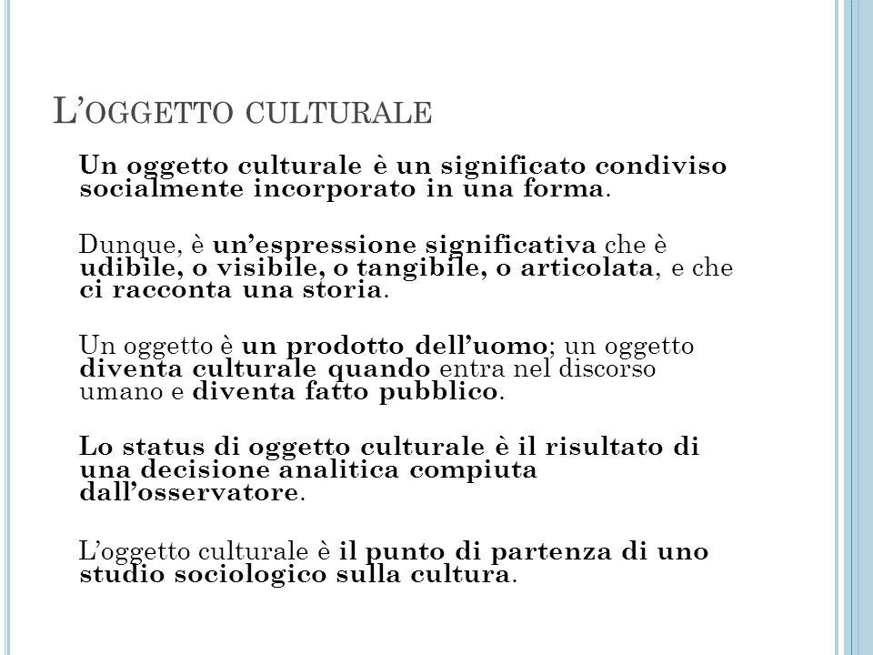 L'oggetto culturale Un oggetto culturale è un significato condiviso socialmente incorporato in una forma.