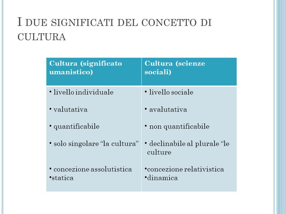 I due significati del concetto di cultura