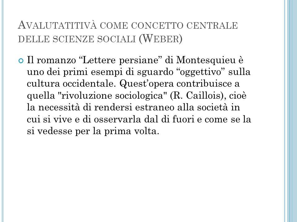Avalutatitivà come concetto centrale delle scienze sociali (Weber)
