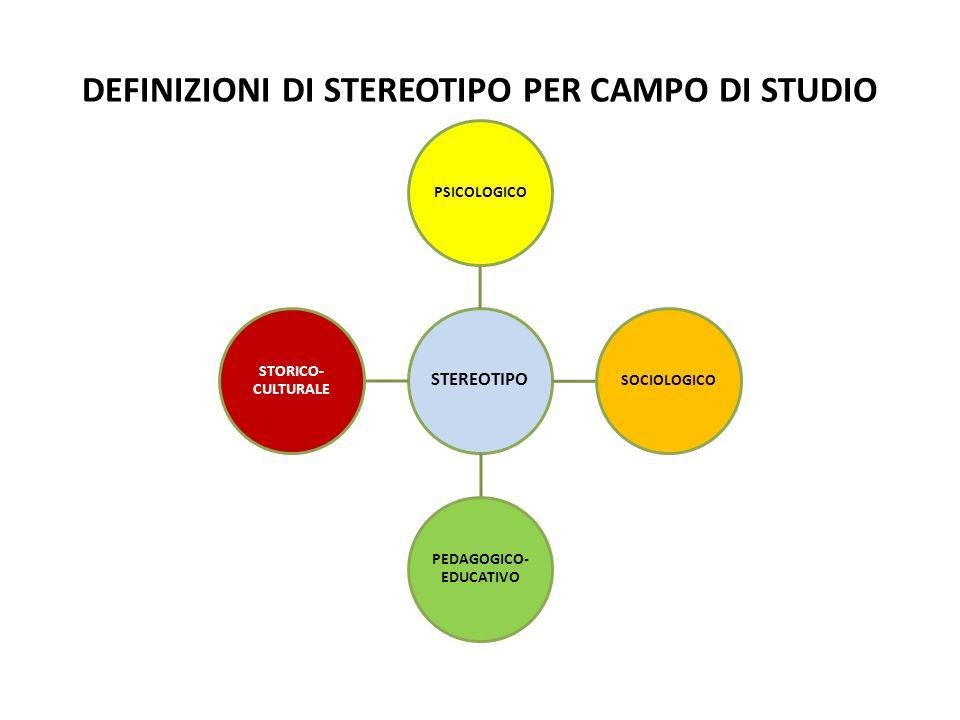 DEFINIZIONI DI STEREOTIPO PER CAMPO DI STUDIO