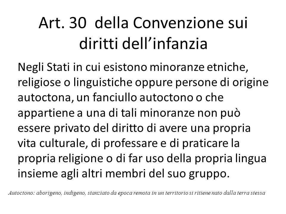Art. 30 della Convenzione sui diritti dell'infanzia
