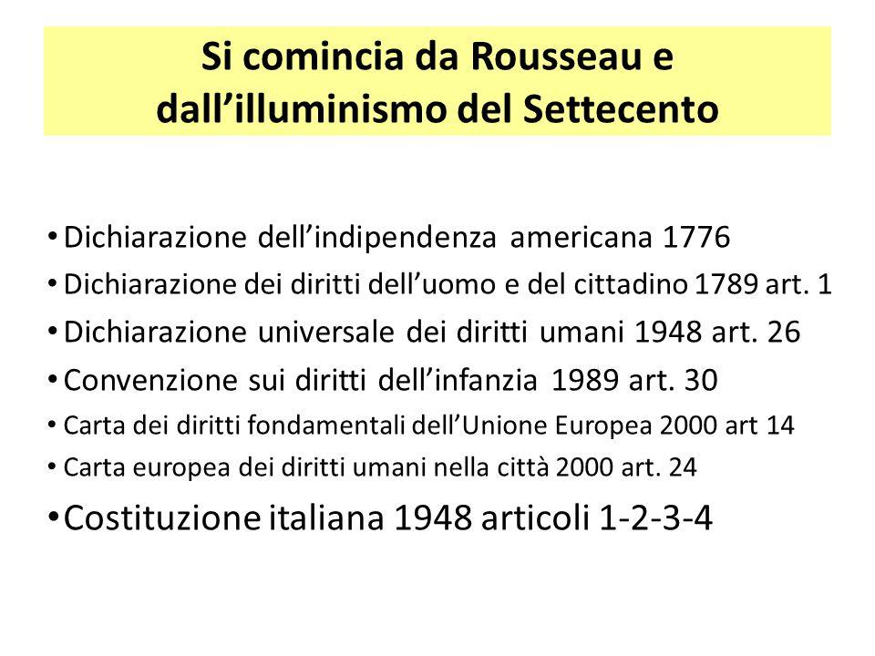 Si comincia da Rousseau e dall'illuminismo del Settecento