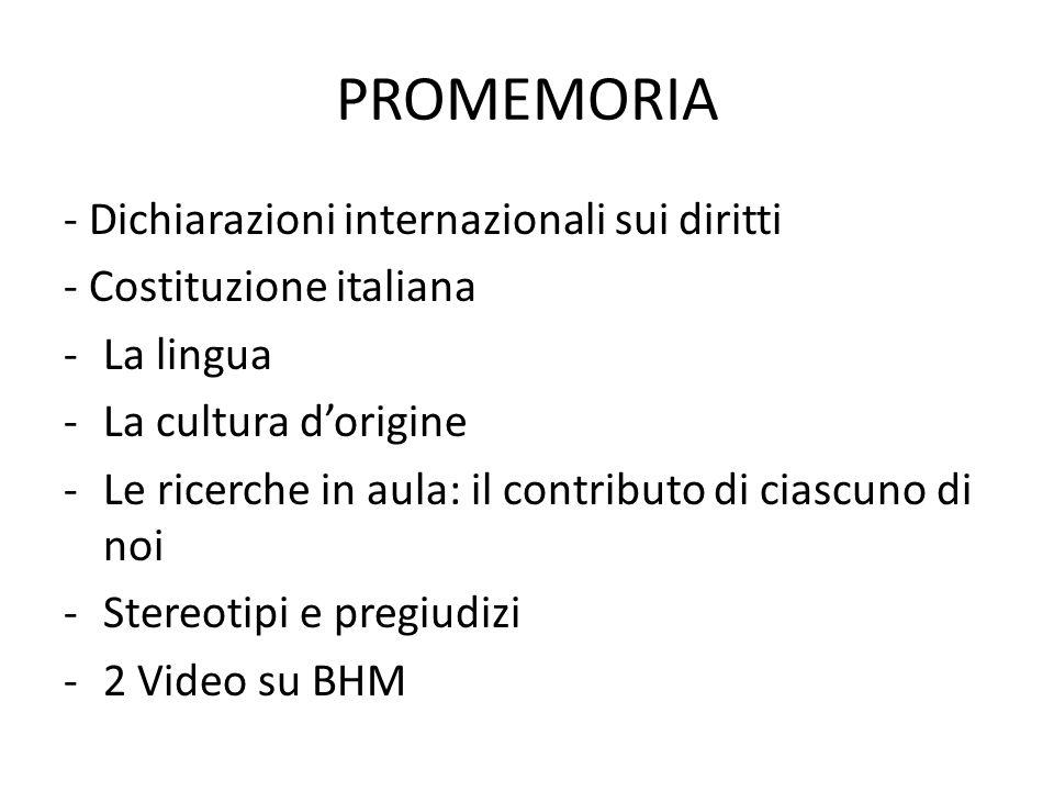 PROMEMORIA - Dichiarazioni internazionali sui diritti