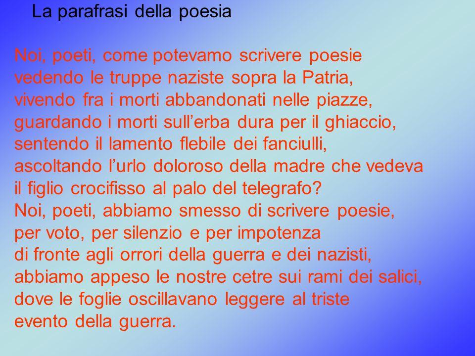 La parafrasi della poesia