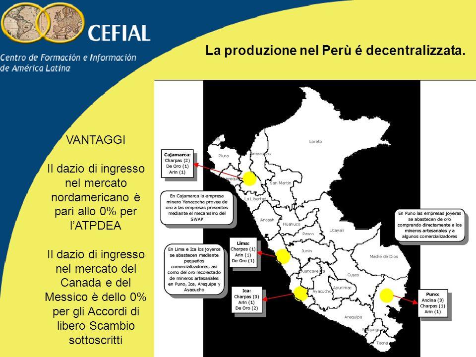 La produzione nel Perù é decentralizzata.